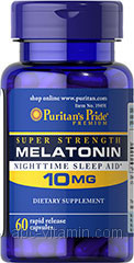 Puritan's Pride Melatonin 10mg, 60 капс