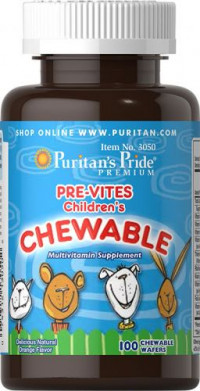 Puritan's Pride PRE-VITES (CHILDREN'S CHEWABLE MULTI-VITAMIN), 100 жев табл