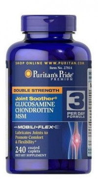 Puritan's Pride	DOUBLE STRENGTH Joint Soother® GLUCOSAMINE CHONDROITIN MSM, 60 капс